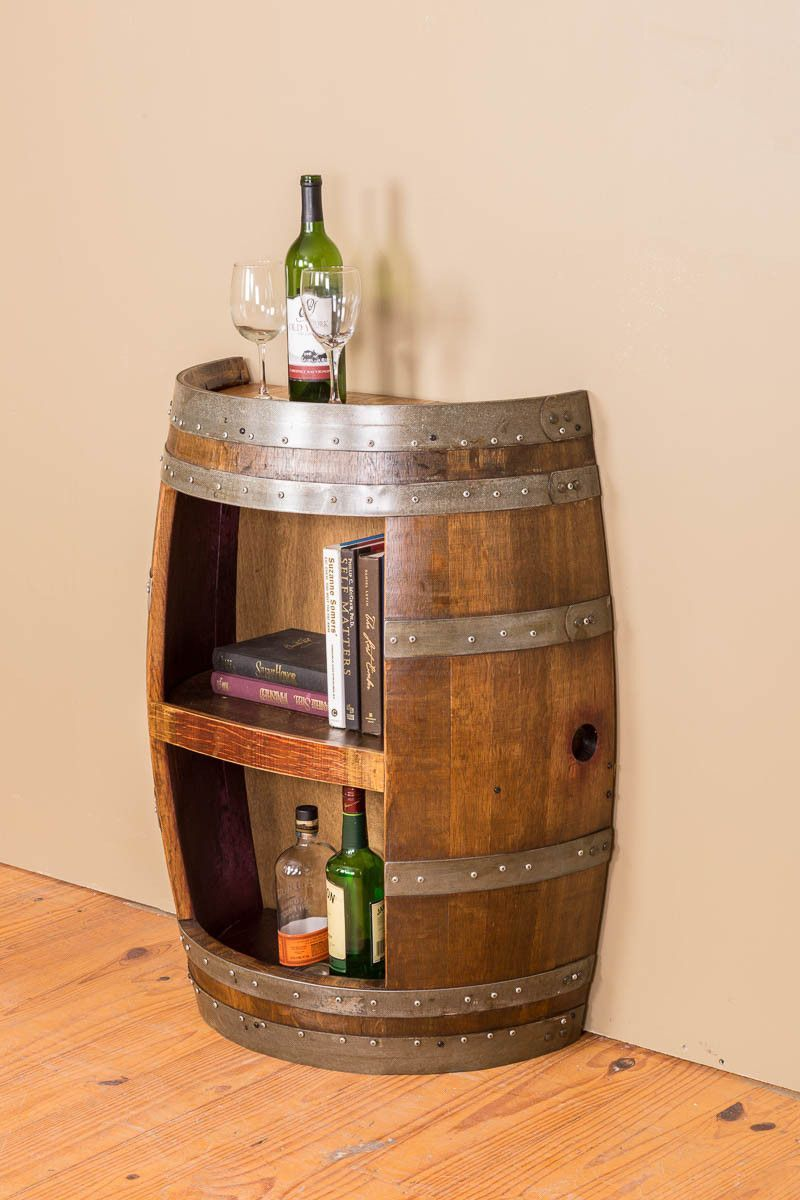 Half Barrel Open Front With Shelf An Authentic Reclaimed Wine Barrel Was Used To Create This Lovely Wine Ba Barrel Decor Barrel Furniture Wine Barrel Furniture
