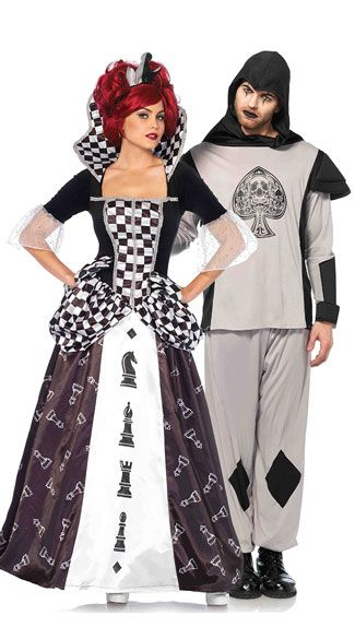Black /& White Chess Queen Alice in Wonderland Queen of Heart Costume
