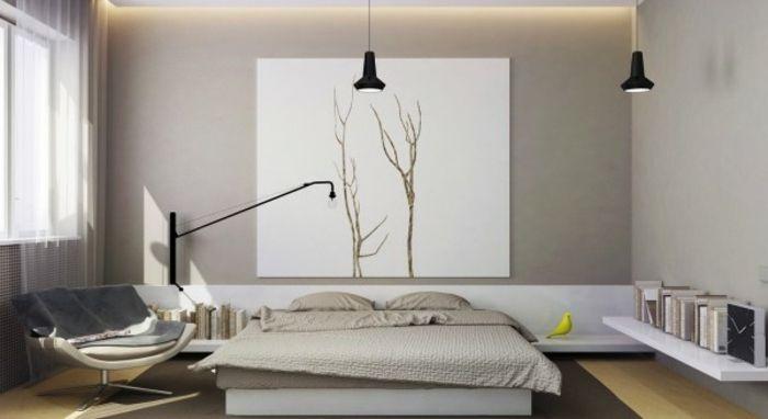 Schlichte Einrichtungslinie mit beigefarbener Palette Schlafzimmer