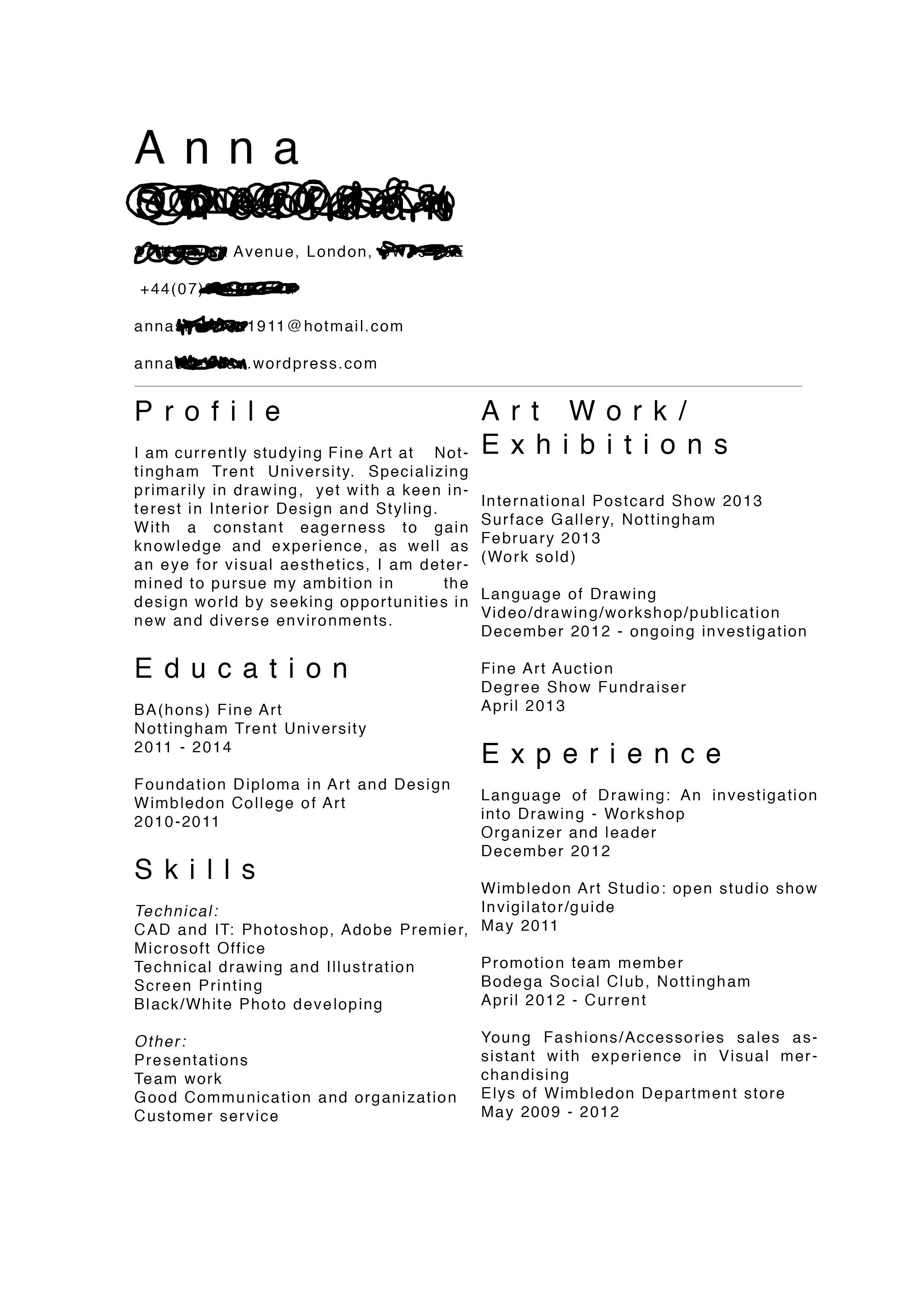 Fine Artist CV  For the Artist  Artist cv Artist resume