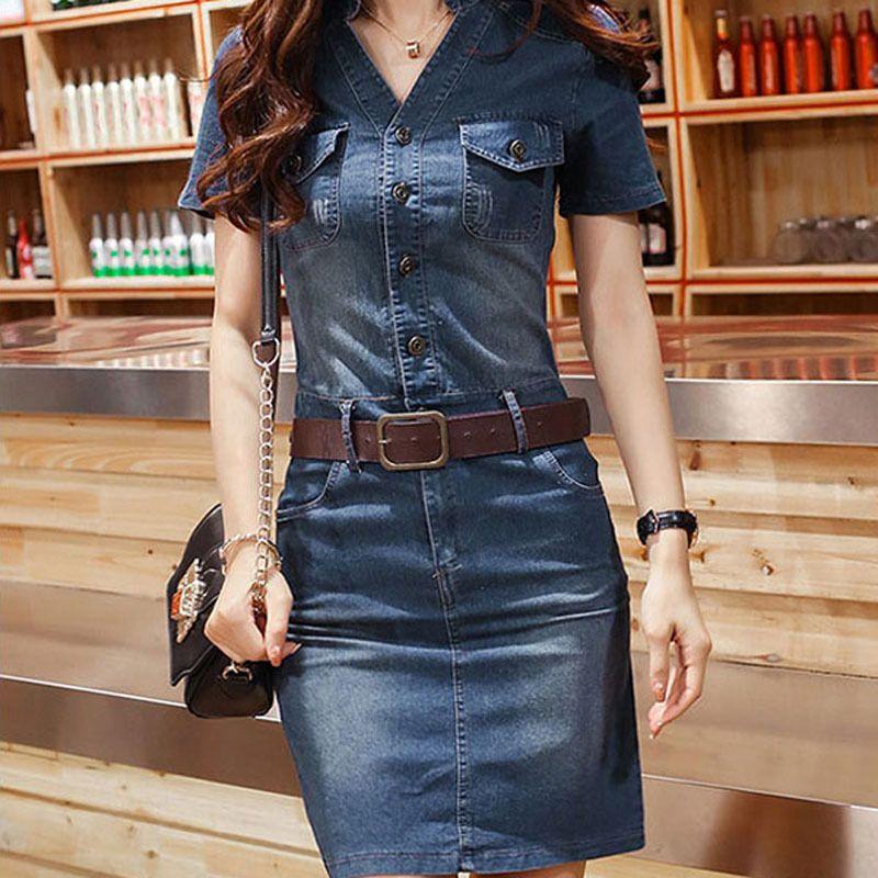 Barato 2015 V verão na altura do joelho Jeans vestido feminino ...