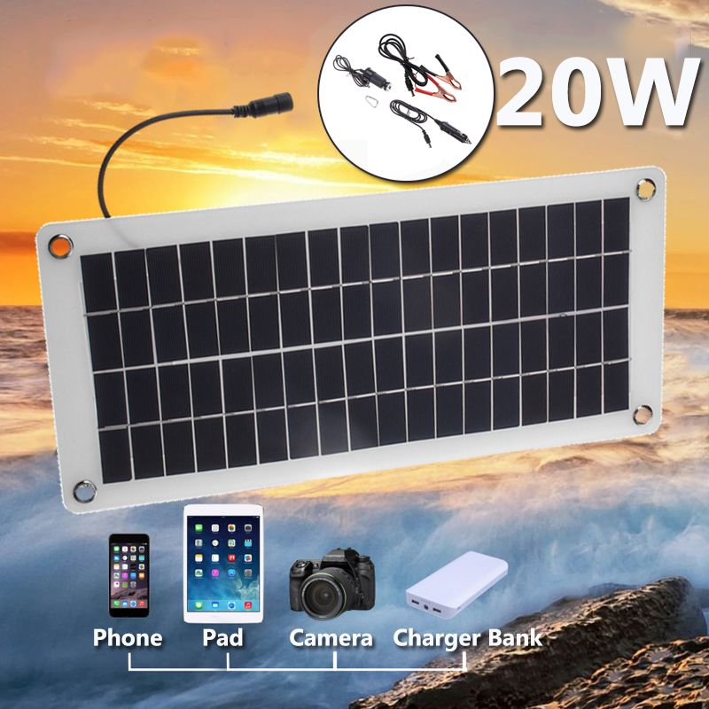Cheap Solar Panel Buy Directly From China Suppliers 20w 12v 5v Solar Panel Portable Power Bank Board External Battery Charging Solar Cell Board Diy Clips Outdo