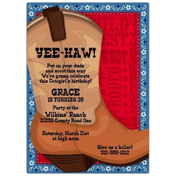 Big Brown Boot Western Invitations Western Invitations Party Invite Template Christmas Invitations Template