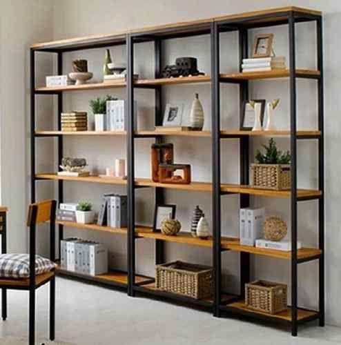 Biblioteca estanteria modular hierro madera ruffino - Muebles de chapa metalica ...