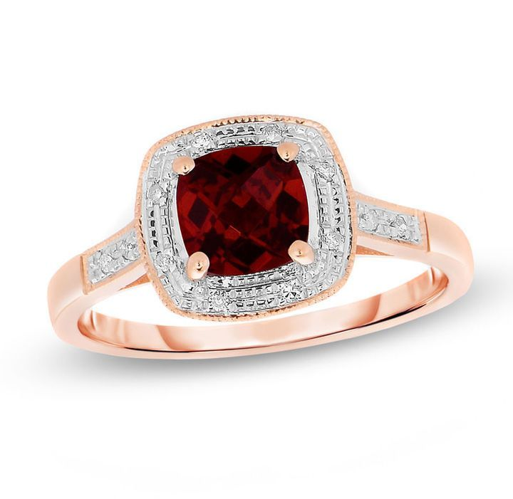 Zales 6.0mm Cushion-Cut Garnet And Diamond Accent Engagement Ring in 10K Gold 7QEDWz6v