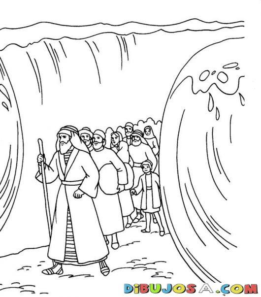 Colorear a Moises atravesando el mar | COLOREAR BIBLICOS | Dibujo ...