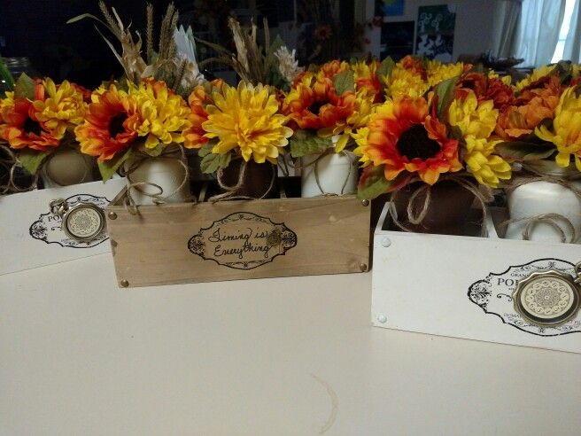 Fall flowers in painted jars, inside wood box. SW