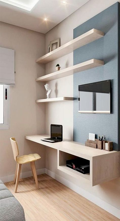 Simplistic desk/shelving. Wouldn't take up too much space
