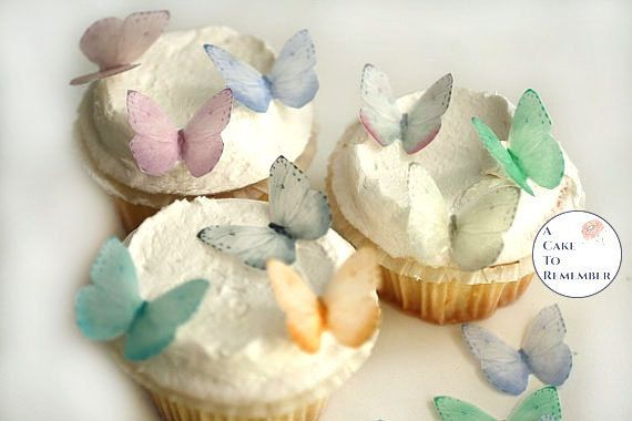 PRECUT RAINBOW BUTTERFLIES EDIBLE WAFER CAKE TOPPERS DECORATIONS x 20
