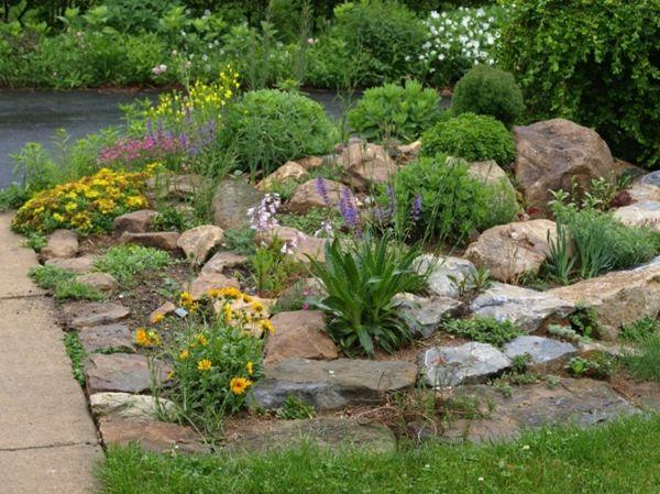 Gartengestaltung Beispiele Steine Kräuter Blumen | Rock Garden