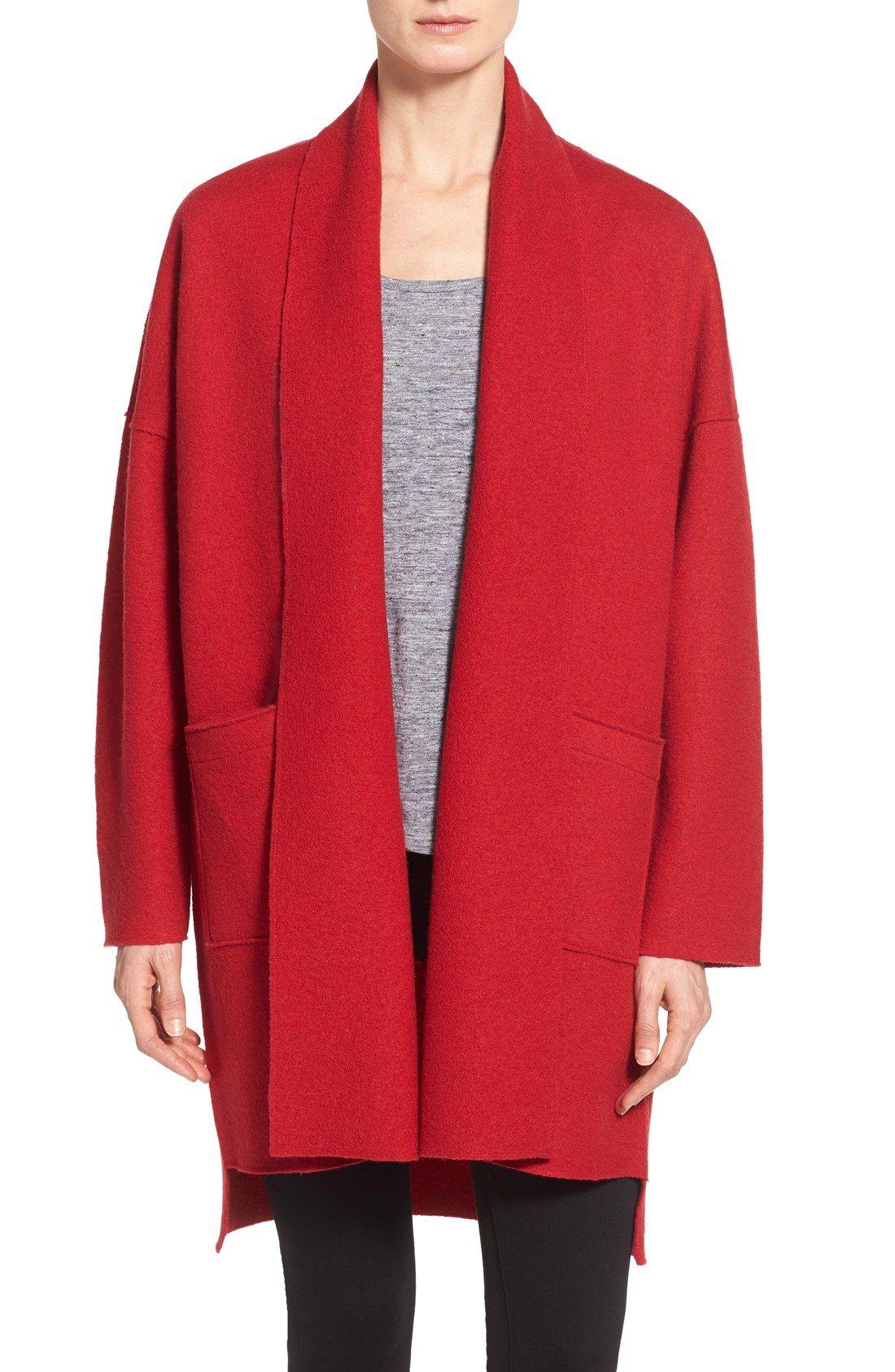 Eileen Fisher Boiled Wool Kimono Coat (Regular & Petite ...