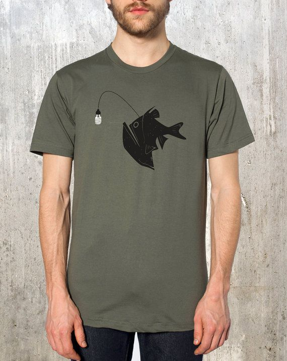 Angler Fish with Green Light Bulb - Men's American Apparel T