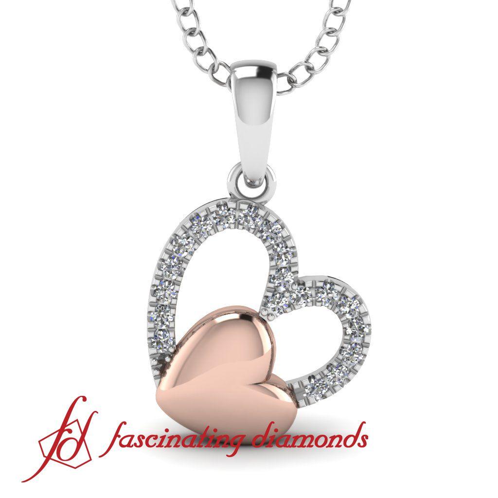 Double two tone descending tilted round diamond heart pendant