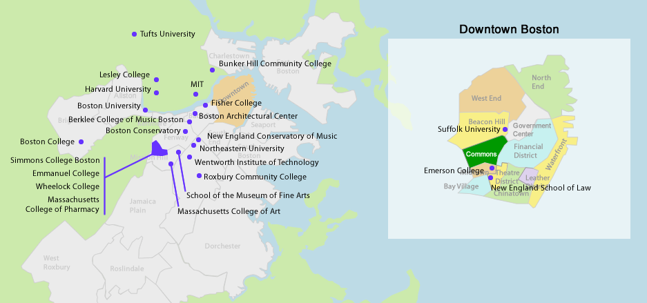 14 Awesome boston area colleges map images | Boston | Boston area ...