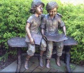 Lovely Children Reading Bronze Sculpture | Boy U0026 Girl Children Reading Statues |  Unique Home U0026 Garden