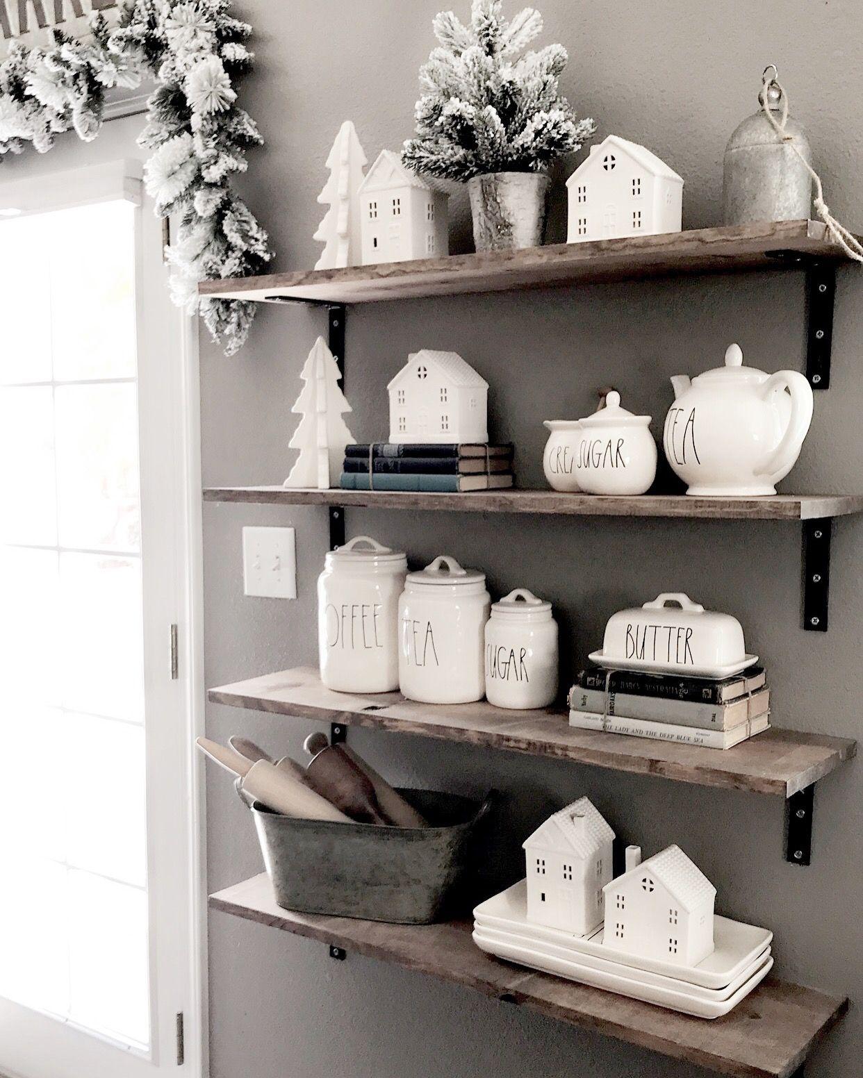 Rae Dunn Farmhouse Christmas Target Little White Houses Kitchen Shelf Decor Home Decor Little White House