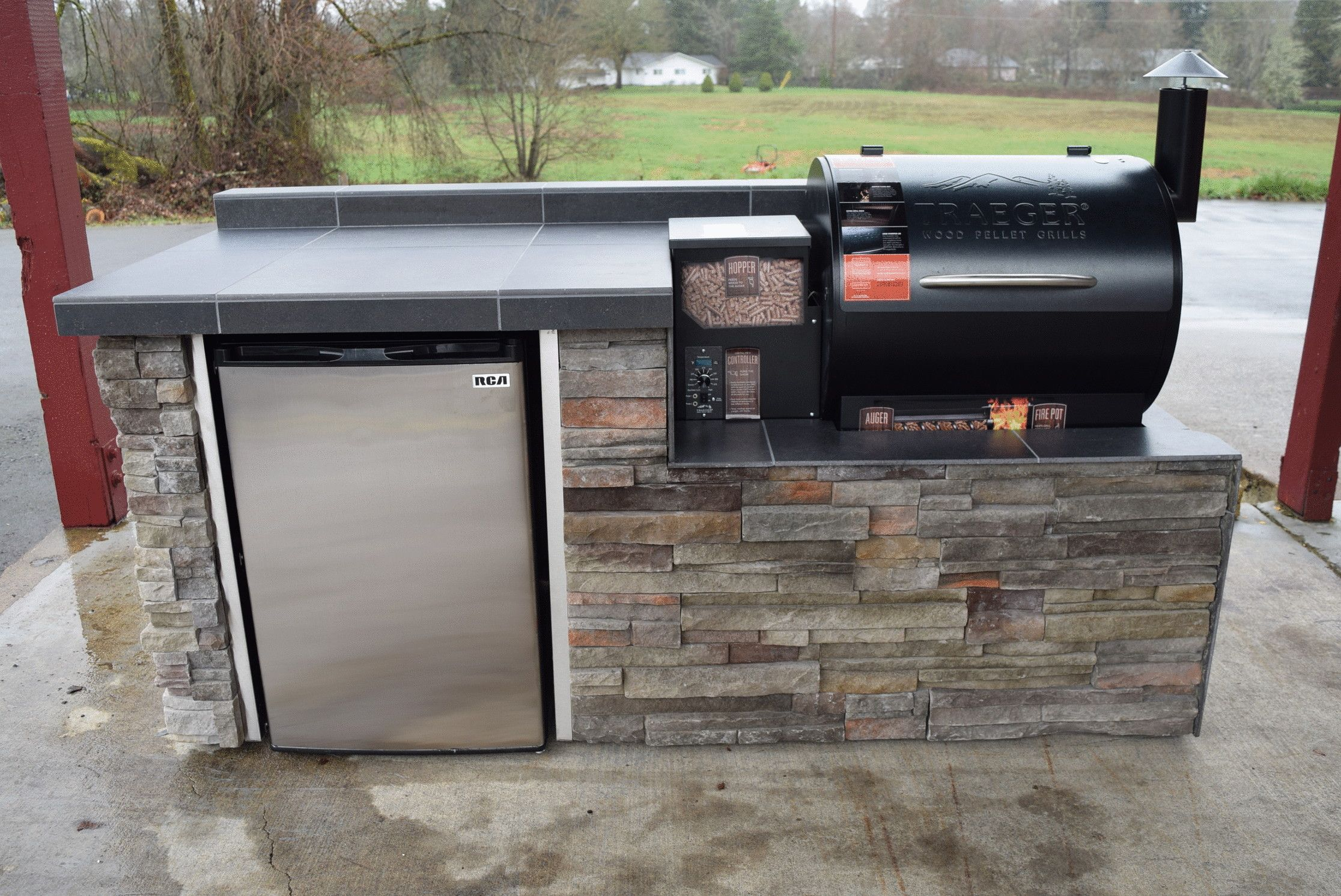 Outdoor Kitchen for the Traeger pellet grill  Sunset