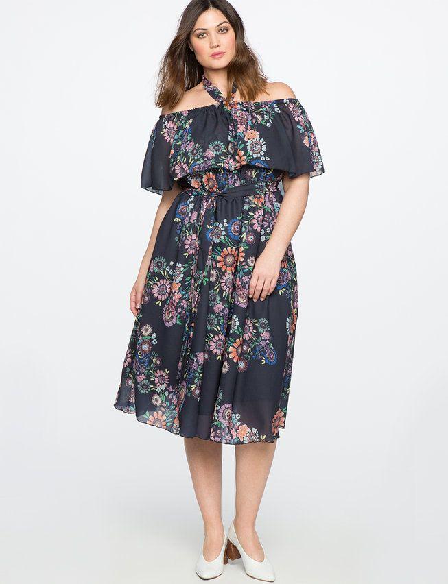44025ba07e57a Printed Off the Shoulder Midi Dress from eloquii.com