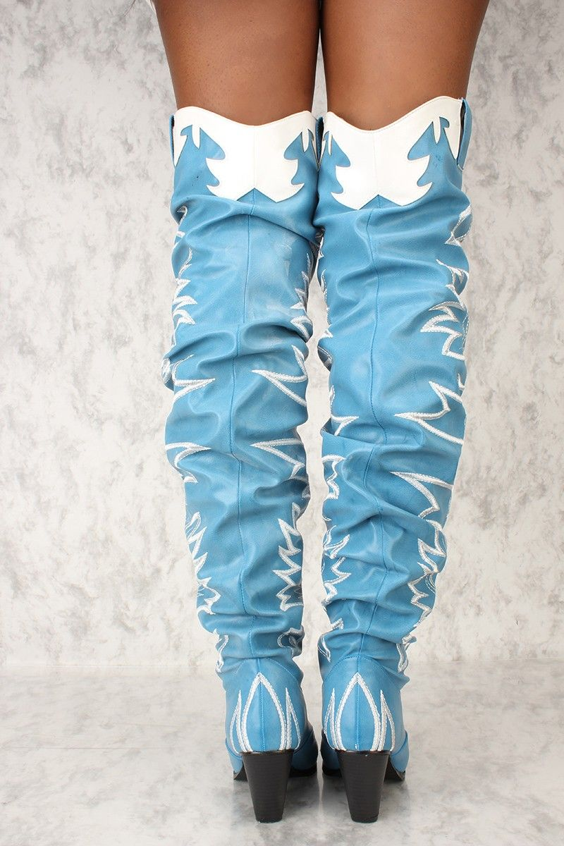 641056c21 Cape-Robbin-Kelsey-21-BLUE-COWBOY-FASHION-WESTERN-POINTED-OVER-KNEE-THIGH- BOOT