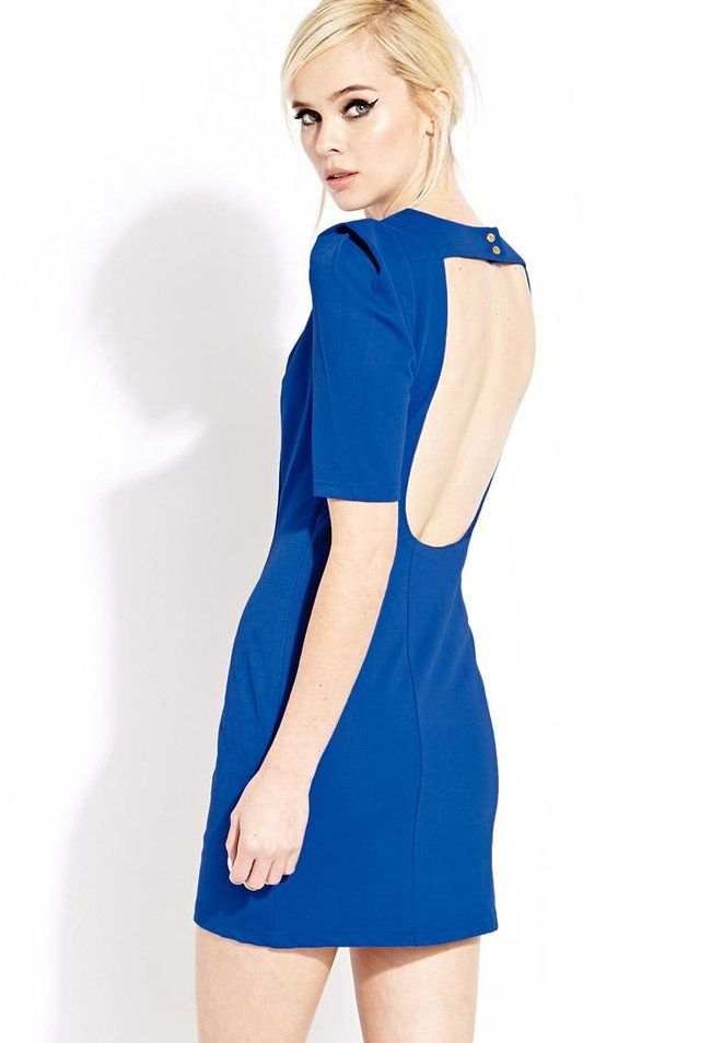 4bc5a205 A textured sheath dress featuring structured short sleeves. Round neckline. Cutout  back with butt.