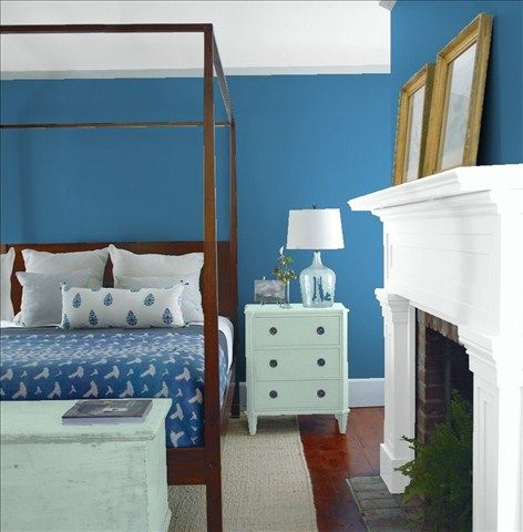 Look at the paint color combination I created with Benjamin Moore. Via @benjamin_moore. Wall: Bellbottom Blues CSP-655; Mantle: Chalk White 2126-70; Chest: Wythe Blue HC-143; Ceiling: Chalk White 2126-70.