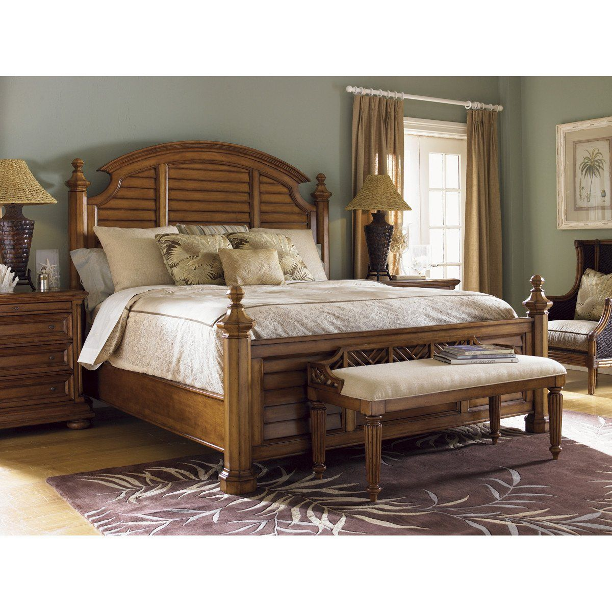 Tommy Bahama Island Estate Plantain Bed Bench Bedroom in