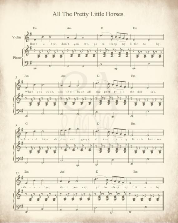 Sheet Music Art, Lullaby Sheet Music, Sheet Music Prints, Sheet Music Art Prints, All the Pretty Lit #vintagesheetmusic