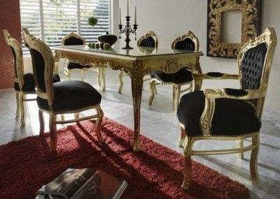 Casa Padrino Barock Esszimmer Set Schwarz / Gold Esstisch + 6 Stühle   Möbel  Antik Stil