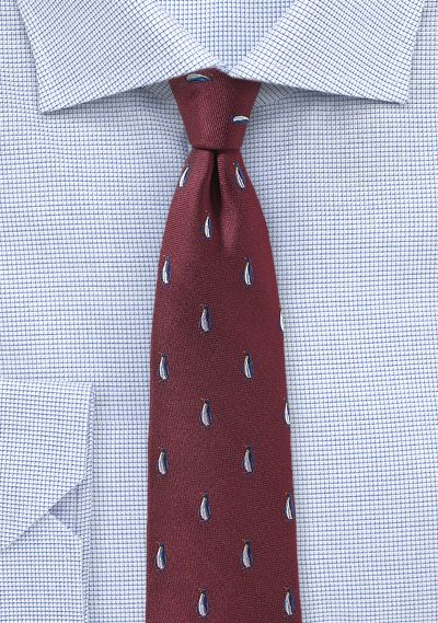 136a2a04d840 Burgundy Skinny Tie with Penguin Design | Ties in Burgundy & Cherry ...