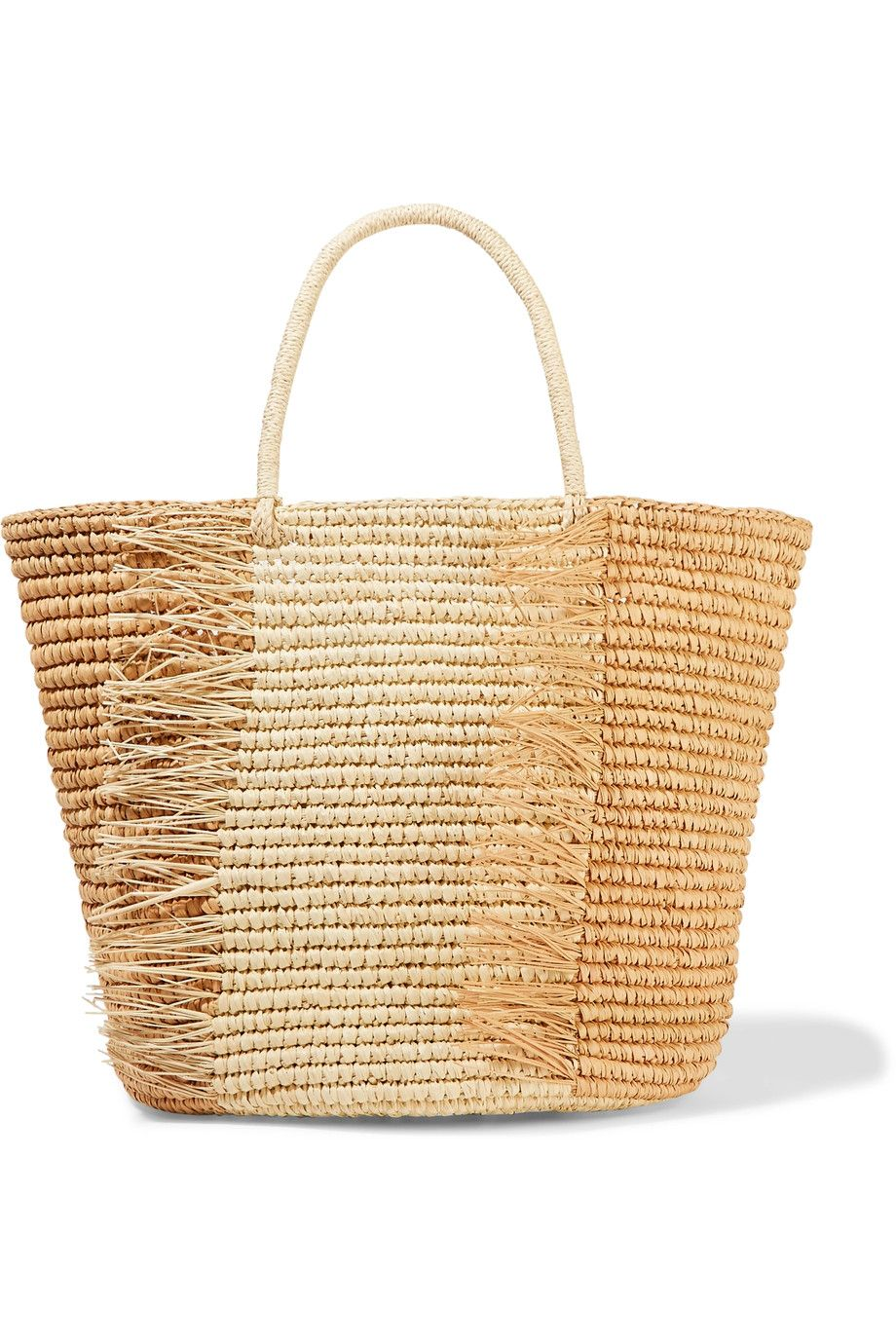 bff1a20fcb7c64 Shop on-sale Sensi Studio Frayed two-tone woven toquilla straw tote ...