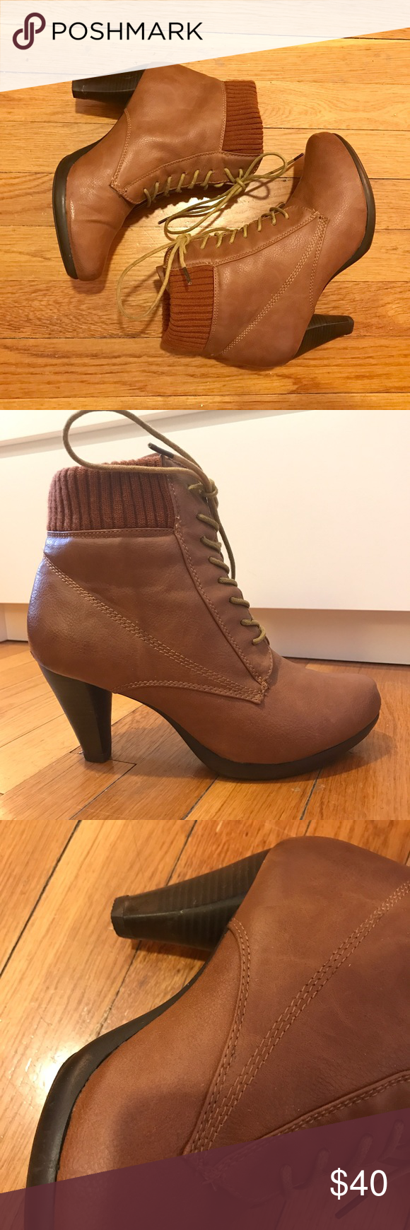 Camel booties Chic leather booties with rubber sole and knit detail. Lace up front and comfortable/manageable heel height. Shoes Ankle Boots & Booties