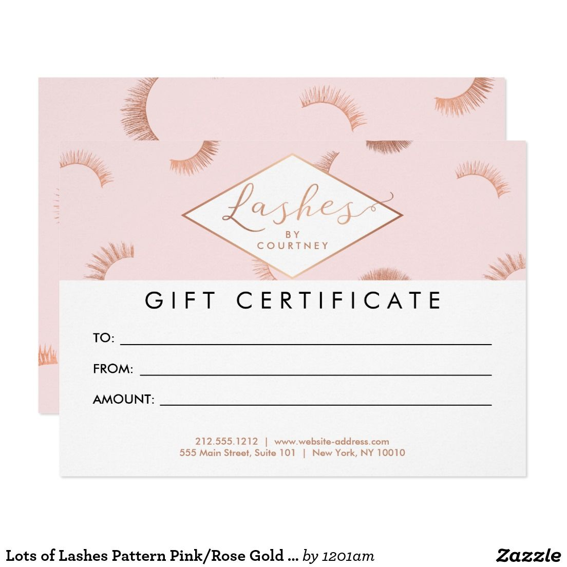 Lots Of Lashes Pattern Pink Rose Gold Gift Card Rose Gold Gifts