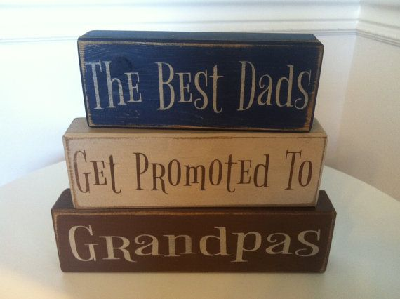 distressed wood sign blocks father's day grandpa gift best dad's get promoted papas grandpas personalized #grandpagifts