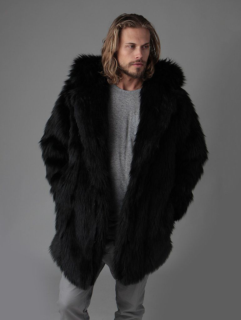 Faux Black Fur Fur Coat Fur Black Faux Faux Coat Wolf Black Coat Wolf Wolf Wolf Faux Fur Black 8x8qArB7