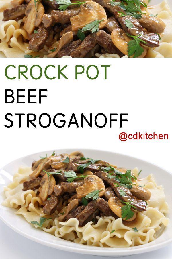 Crock Pot Beef Stroganoff Recipe From Cdkitchen Com Beef Steak Recipes Round Steak Recipes Slow Cooker Beef Stroganoff