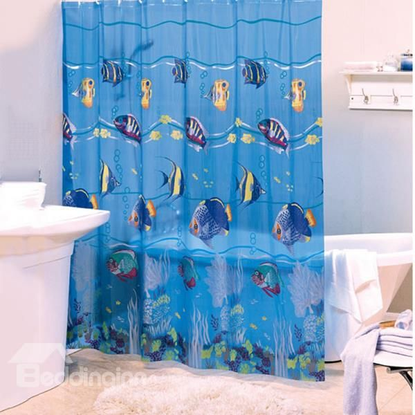 Dynamic Lovely Fish Blue Pvc Shower Curtain Pvc Shower Shower Curtain Ocean Shower Curtain