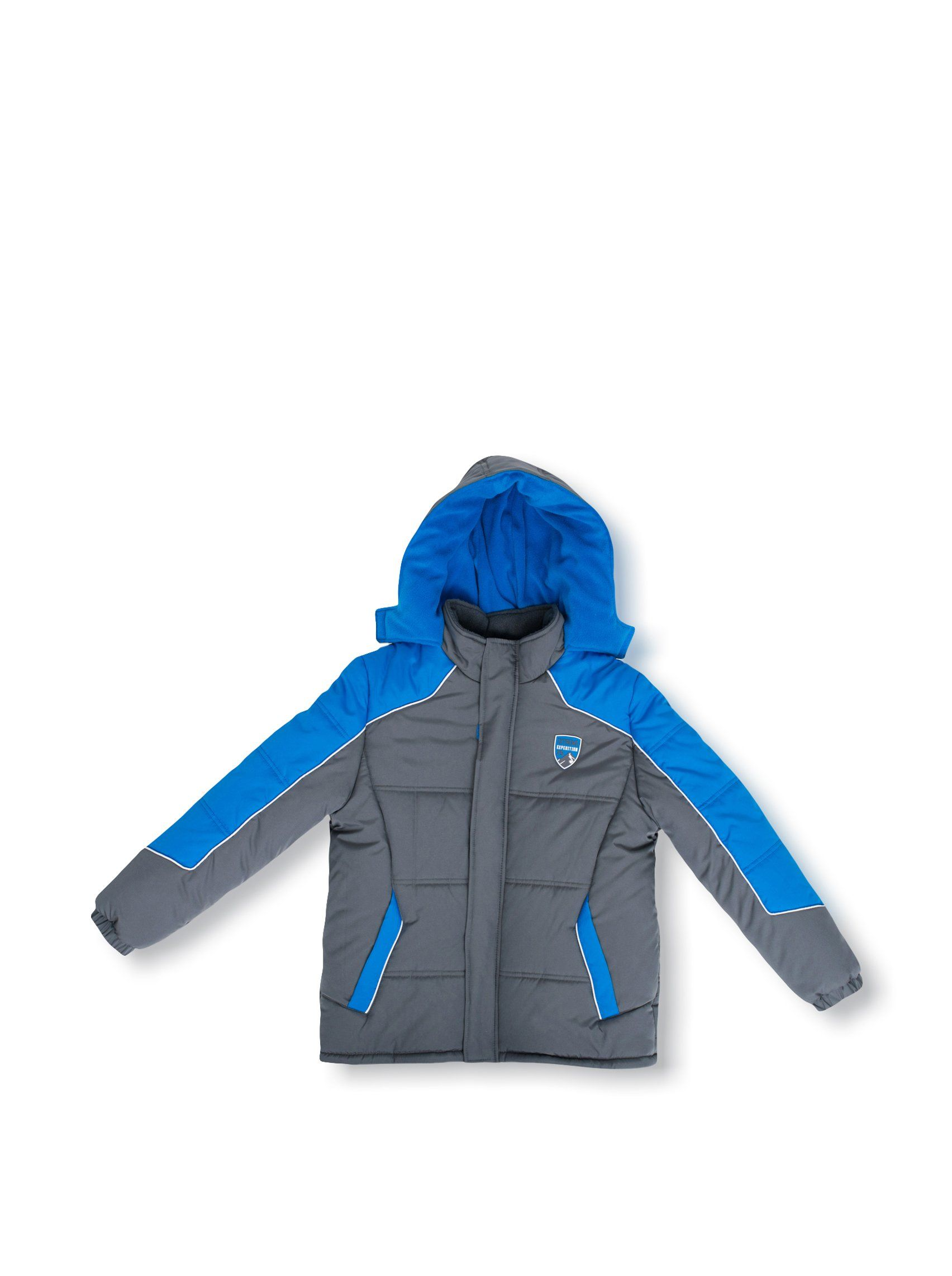 Ixtreme Big Boys Color Block Active Puffer Jacket 5 Charcoal Zip Front Closure With Velcro Placket Water Resistant Outer Shell Jackets Warm Winter Boys [ 2284 x 1704 Pixel ]