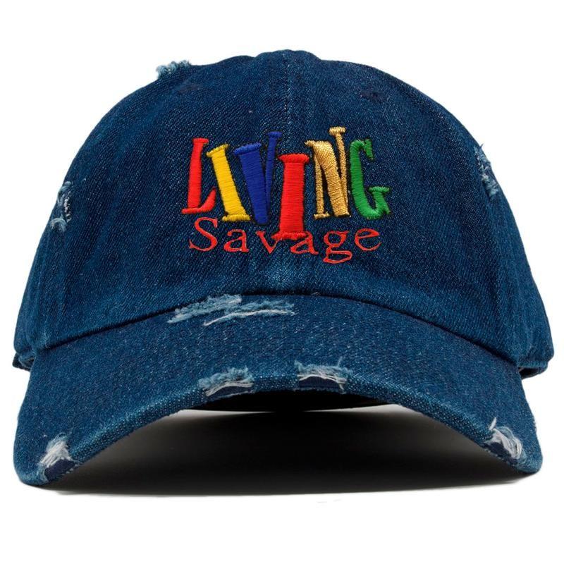 b8b9b145c21 Living Savage 90 s TV Living Single Inspired Dark Denim Distressed Dad – Cap  Swag