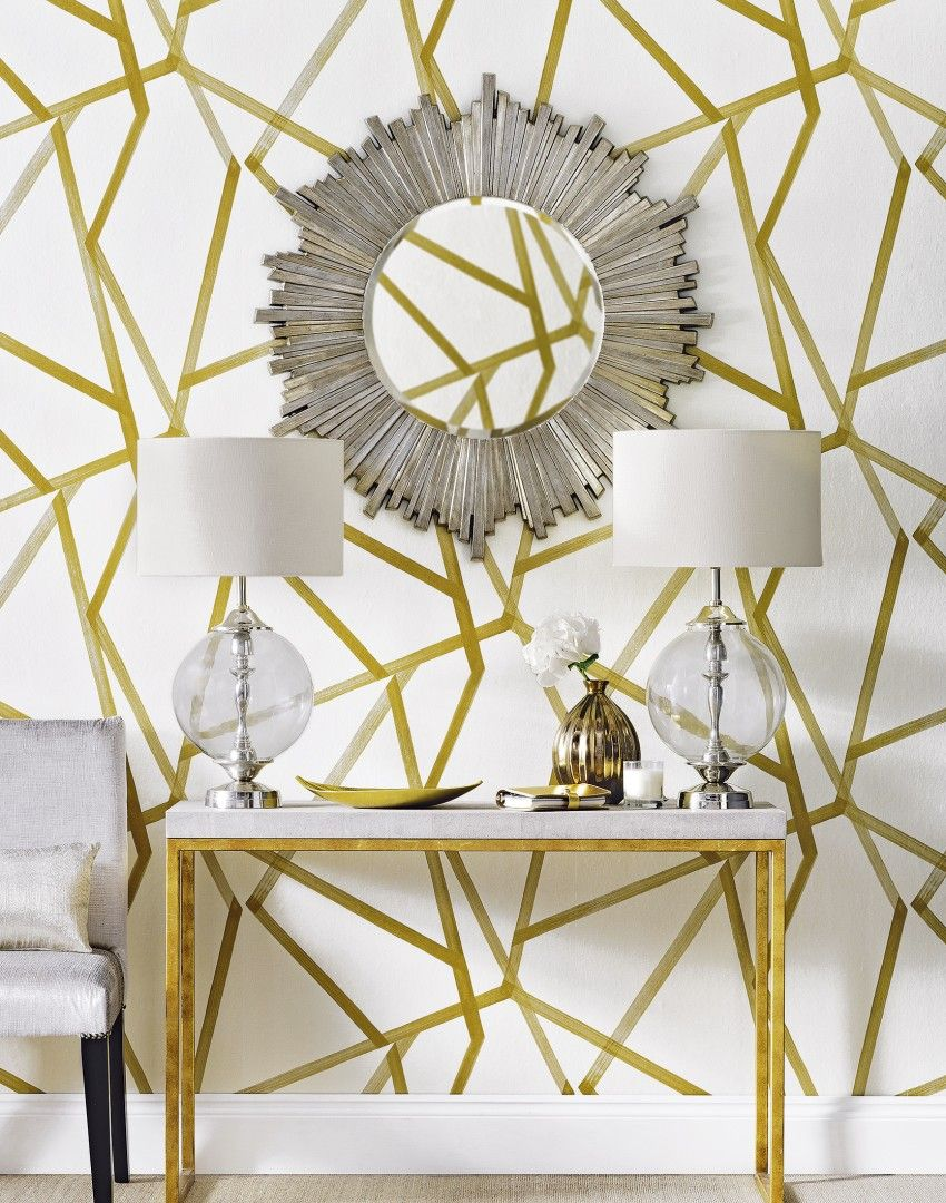 Silver wallpaper hallway  Combine statement wallpaper with bold accessories for an eye