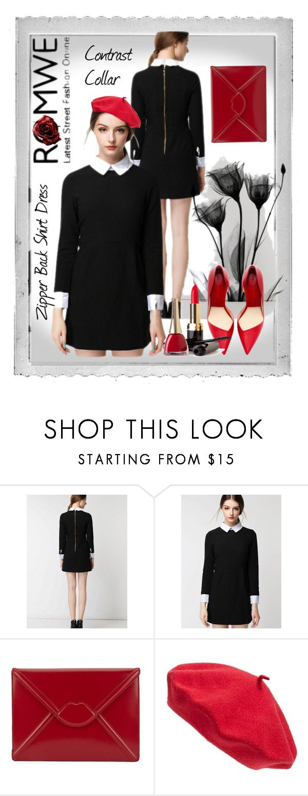 """Contrast Collar Zipper Back Shirt Dress"" by vv23 ❤ liked on Polyvore featuring Polaroid, Lulu Guinness and Parkhurst"