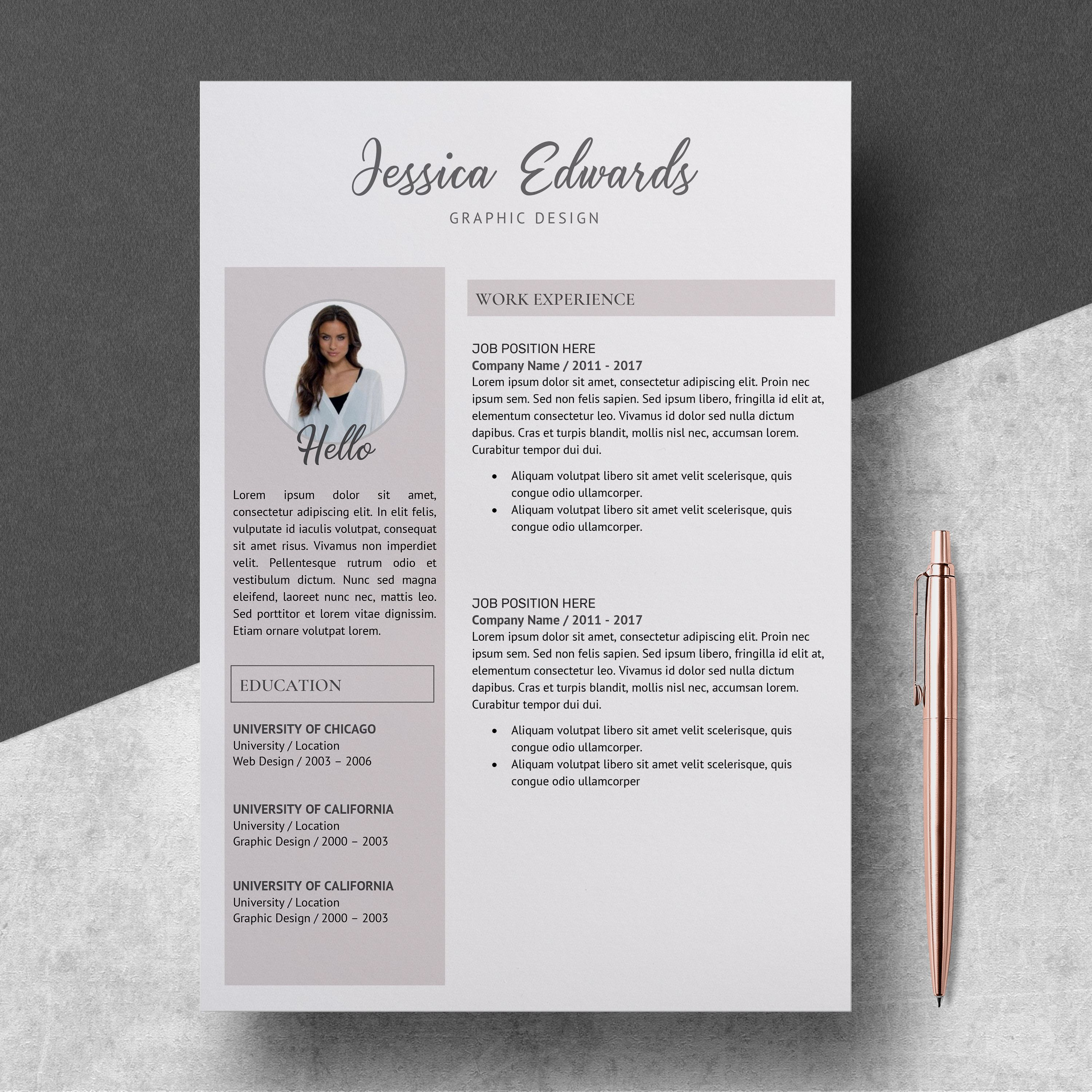 Modern Resume Template  Resume Template With Photo  Resume Instant