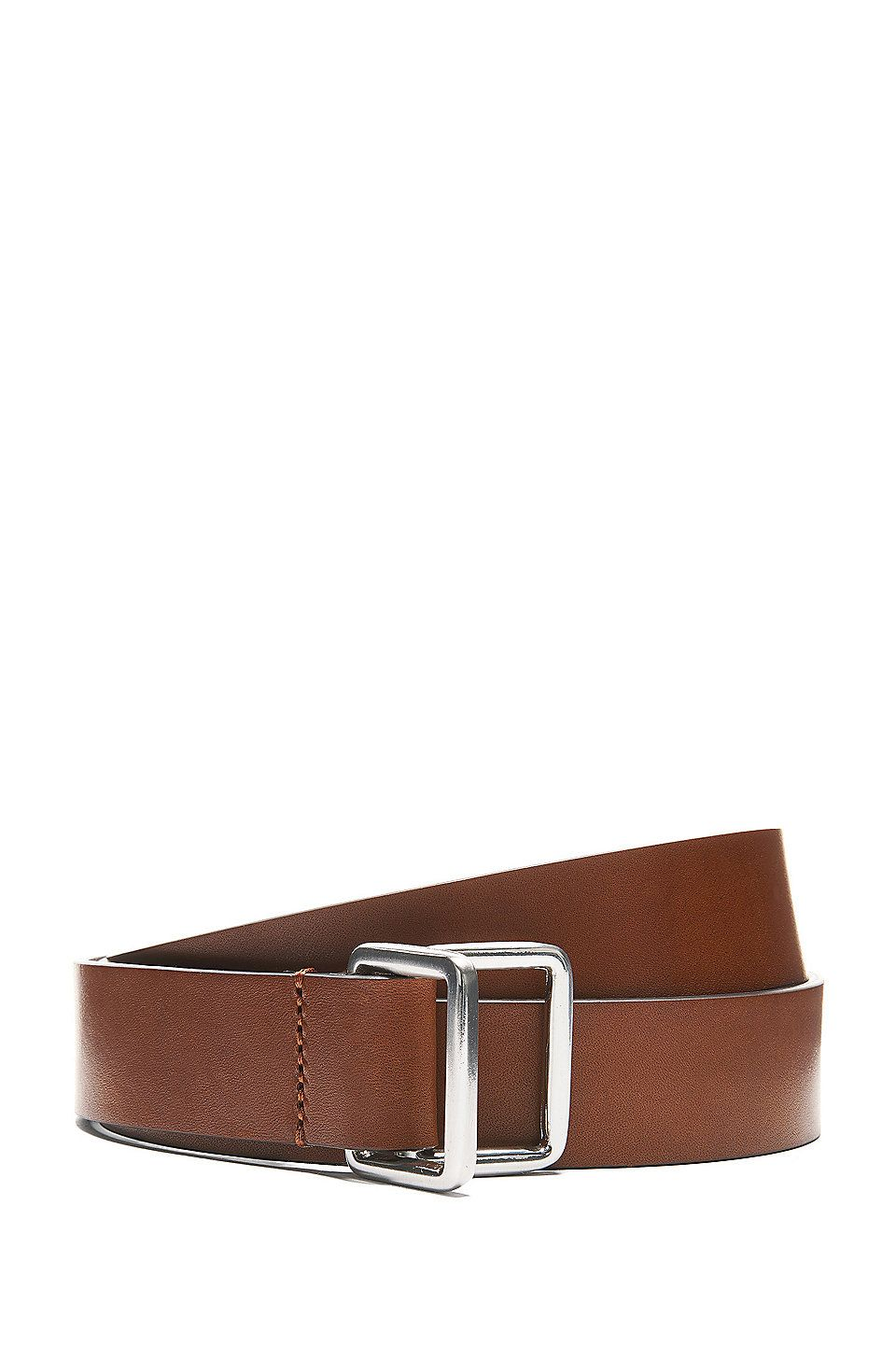 Hugo Boss Smooth Italian Leather Belt With Double D Ring Closure