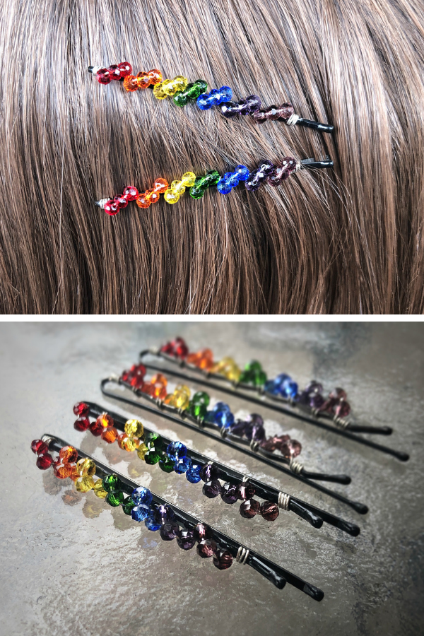Rectangle Colorful Hair Grip Chic Barrettes Beads Hair Clip Beading Hairpins