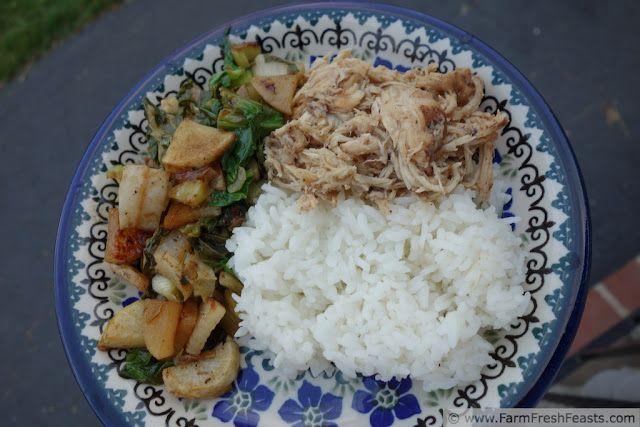 Slow Cooker Chicken Adobo: Chicken Breast + Soy Sauce + Cider Vinegar + Garlic + Ginger+ Bay Leaves+ Sriracha