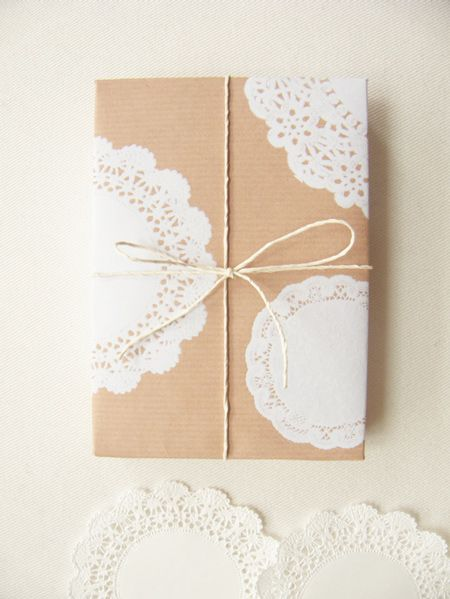 """2 sheets of """"Doilies + Kraft Paper"""" wrapping paper, FREE for you to download and print."""