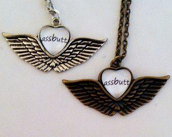 Castiel Assbutt Necklace - Supernatural Jewelry - Team Free Will Jewelry