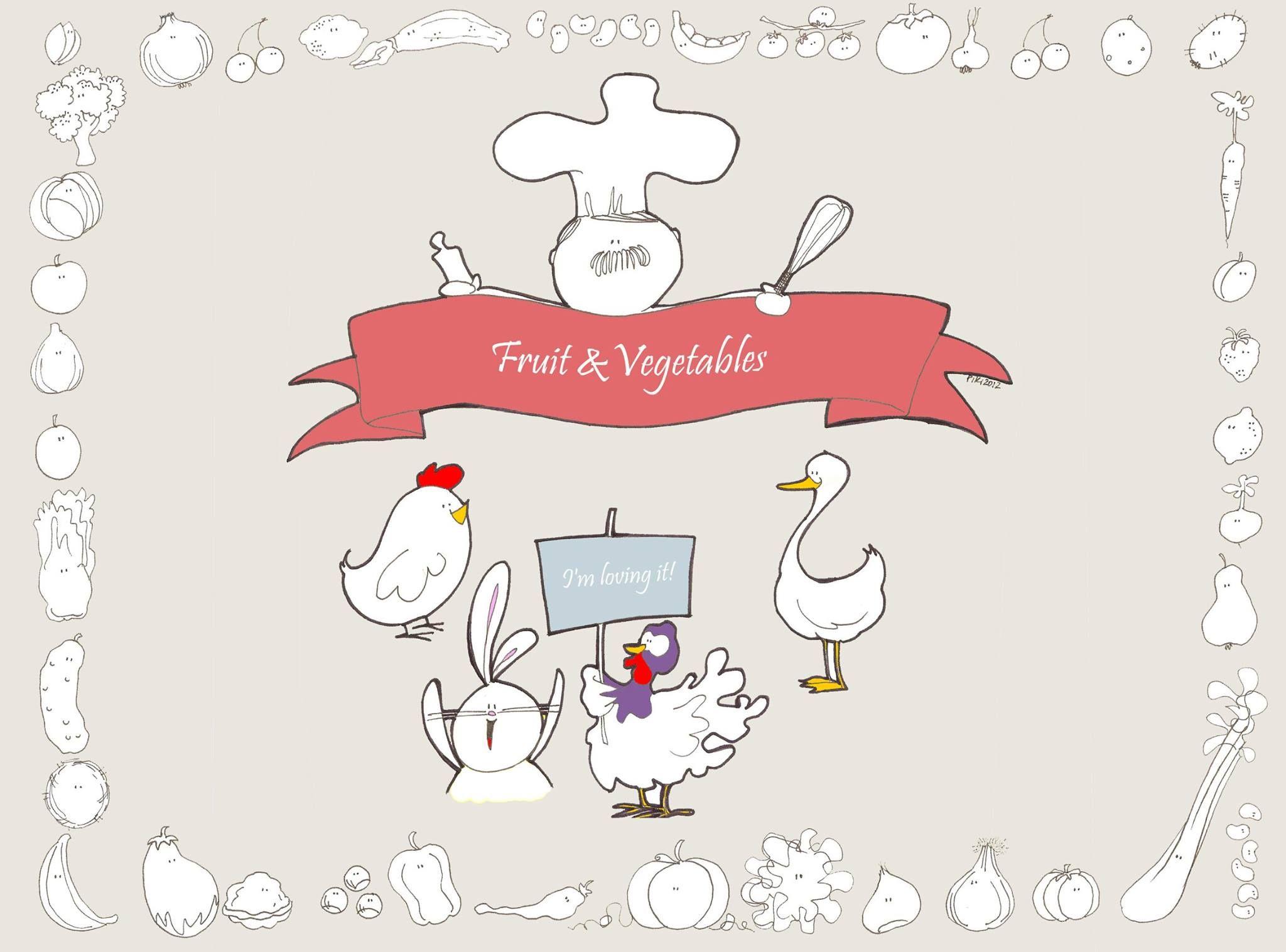 #Piki #Illustration #Fruit & #Vegetables #Cook #hen #rabbit #goose #turkey