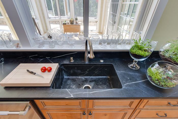 Soapstone Kitchen Countertop and built-in matching Soapstone kitchen