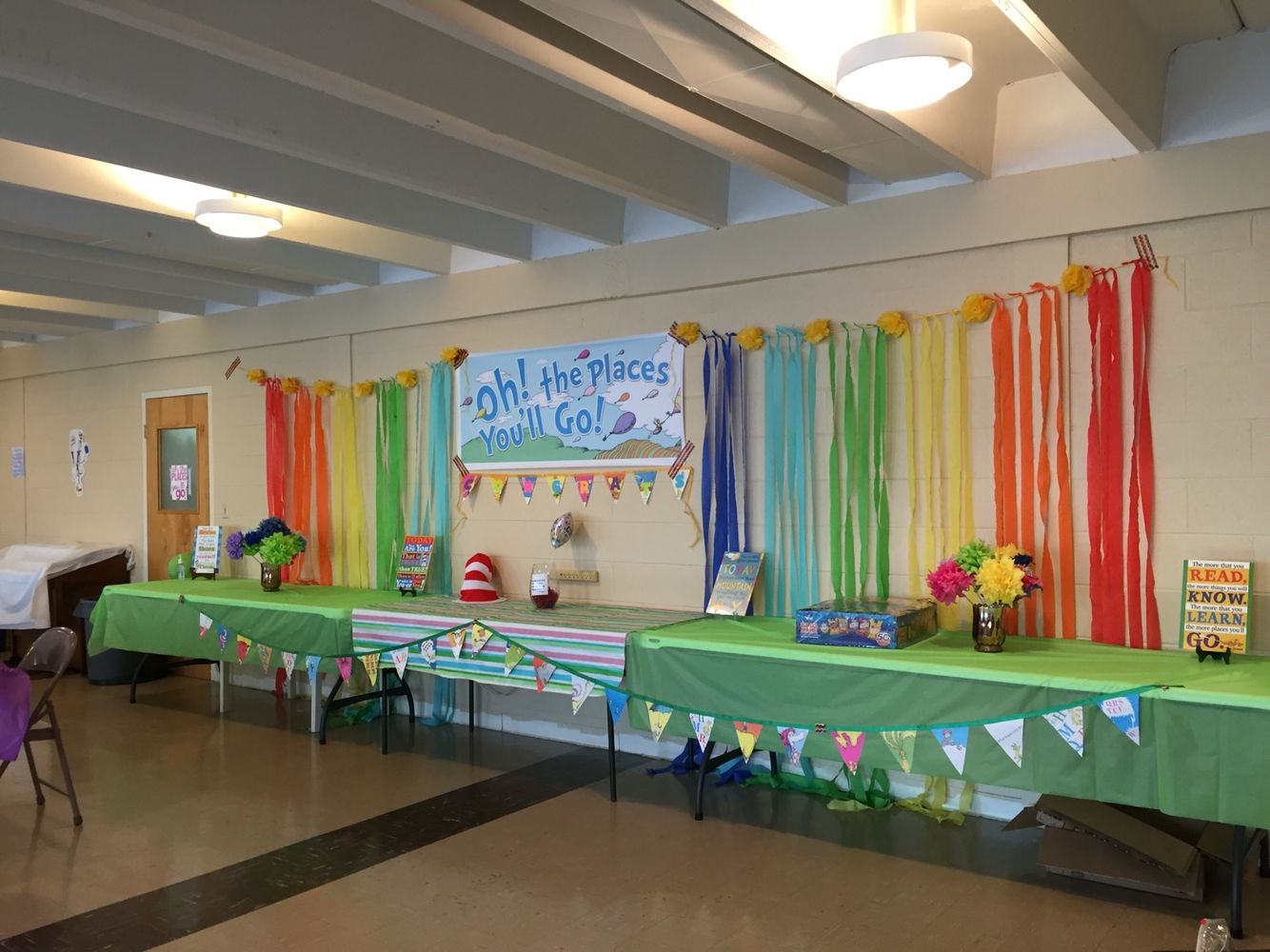 Oh the places you 39 ll go kindergarten graduation food table for Annual day stage decoration images