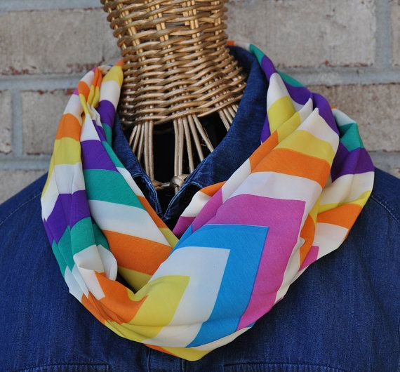 Multicolor Chevron Infinity Scarf by ChickSprings on Etsy